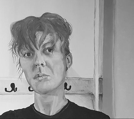 Isolating Artist Self Portrait in Acrylic