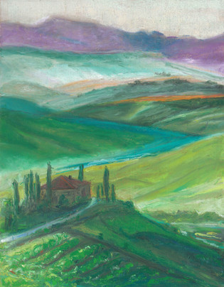 Tuscany -  Oil Pastels