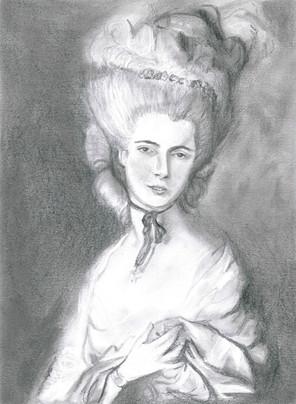Woman in Blue - Pencil