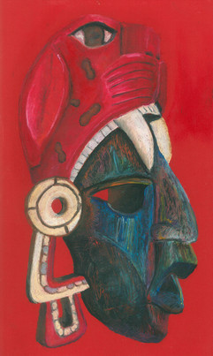 Mayan Mask - Oil Pastels