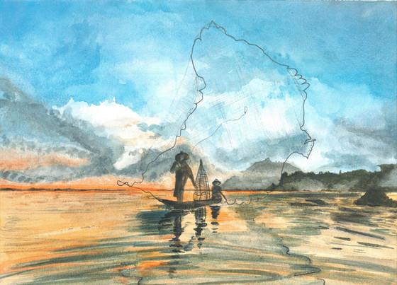Fishing - Watercolour