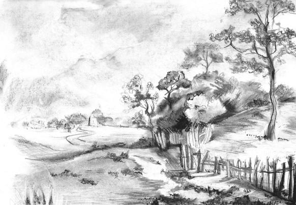 Gainsborough Landscape - Charcoal/Pencil