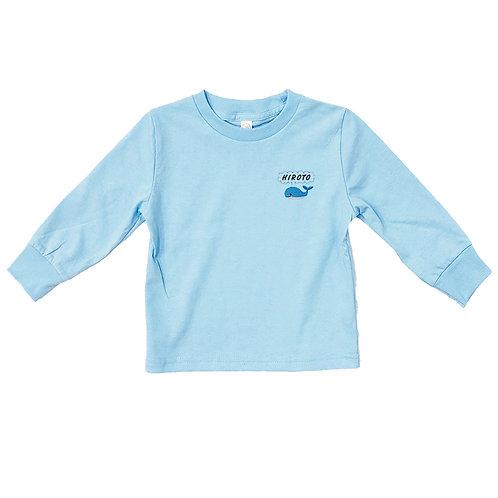 くじらリブあり長袖Tシャツ(ライトブルー)