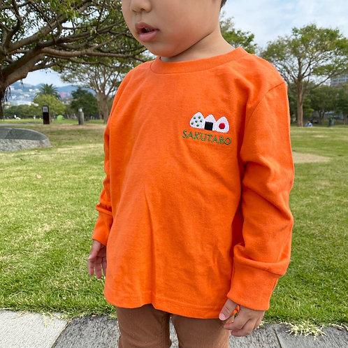 おにぎりリブあり長袖Tシャツ(オレンジ)
