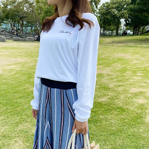 Heartfeltロゴビッグ長袖Tシャツ(ホワイト)