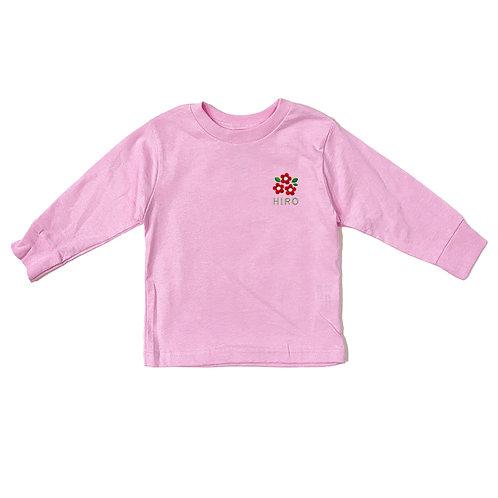 フラワーリブあり長袖Tシャツ(ピンク)