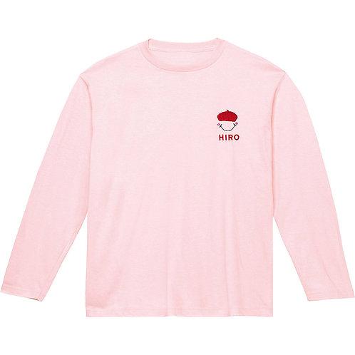 ベレー帽リブなし長袖Tシャツ(ピンク)