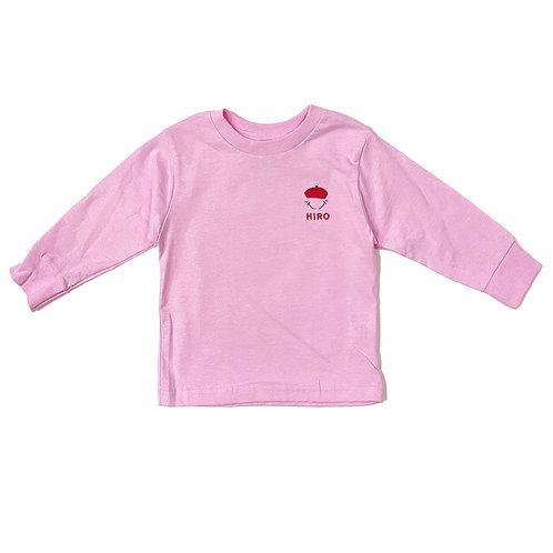 ベレー帽リブあり長袖Tシャツ(ピンク)