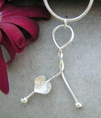 Silver Heart Twist Pendant