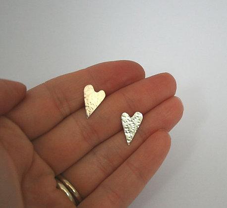 Silver Folk Heart Textured Earrings
