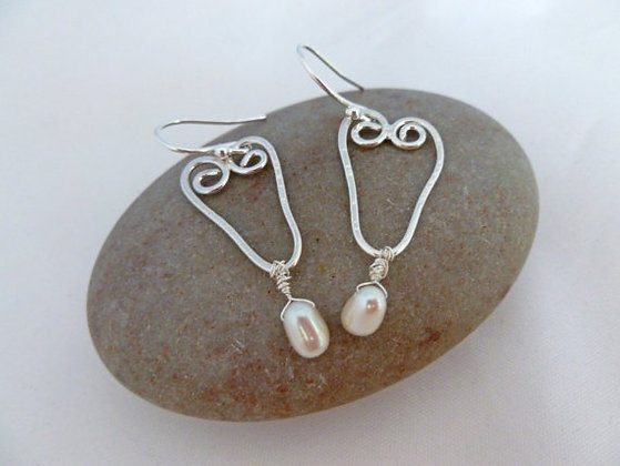 Silver Filigree Valentine's Heart Earrings