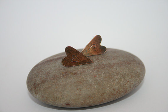 Folk Heart Copper Earrings