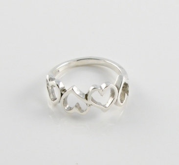 Silver Four Hearts Ring