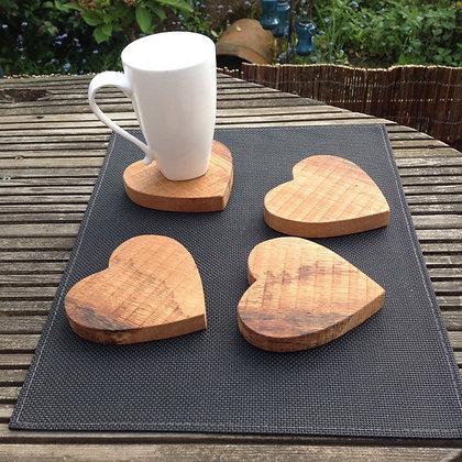 Oak Heart Shaped Coasters (set of 4)