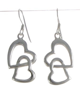 Silver Interlocking Hearts Earrings