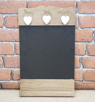 Wooden Chalk Board With Three Hanging Hearts