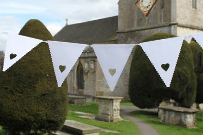 White Heart Paper Bunting