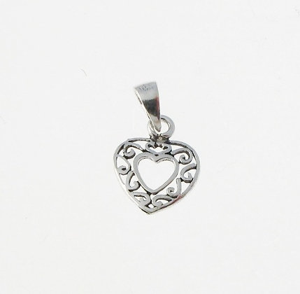 Silver Patterned Heart Charm