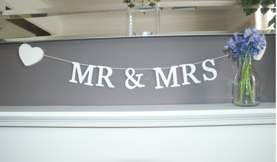 Mr & Mrs Wooden Letter Garland