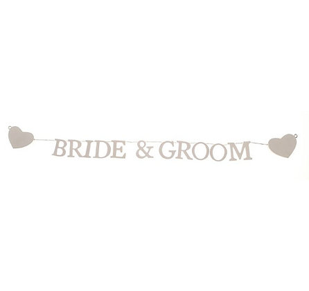 Bride & Groom Wooden Letter Garland