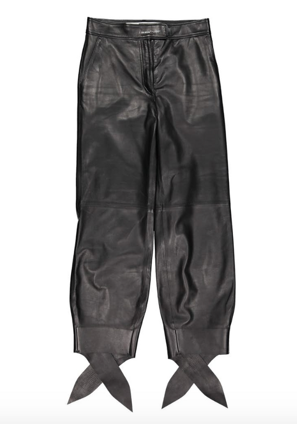 Off White Black Leather Trousers