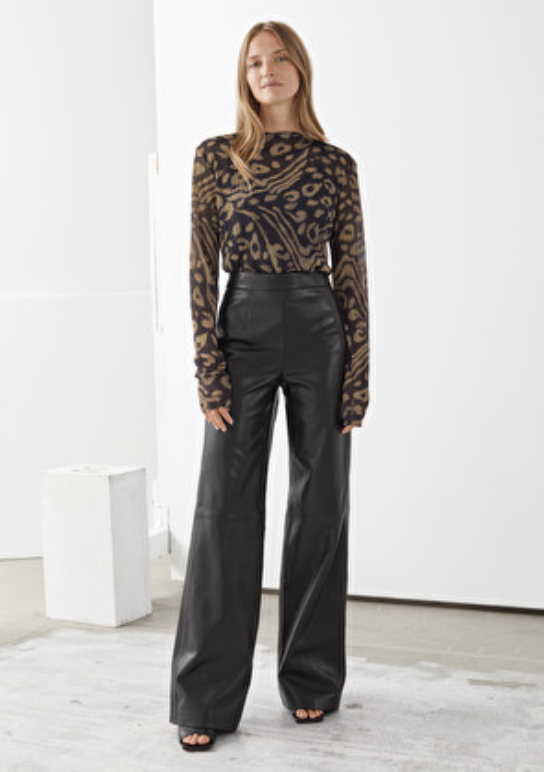 & Other Stories Flared Leather Trousers Black
