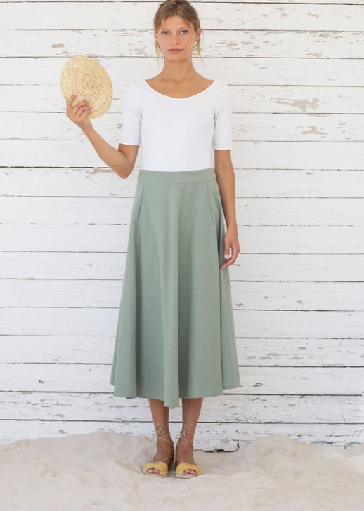 Suite 13 Organic Cotton and Linen Mix Edith Skirt in Iceberg Green