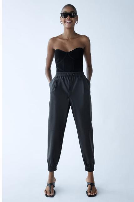 Zara Faux Leather Jogging Trousers Black