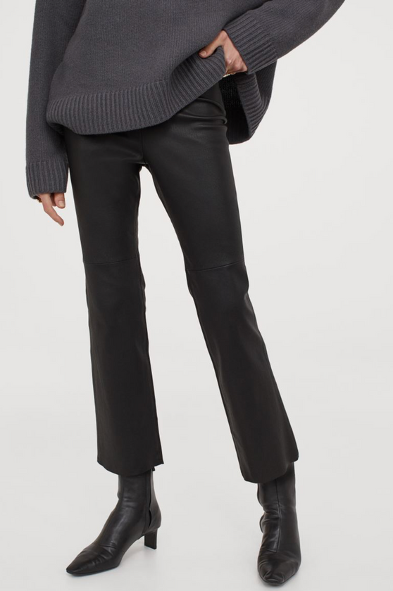 H&M Ankle Length Leather Trousers Black
