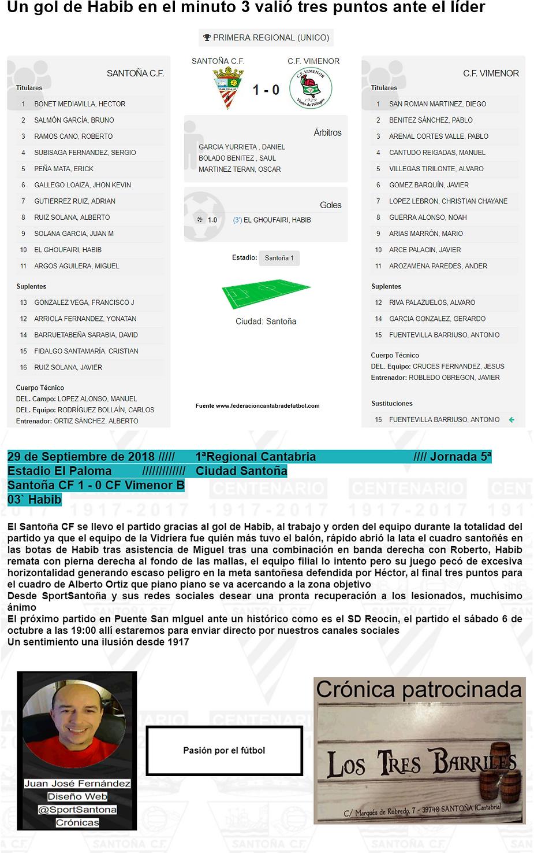 Crónica Santoña CF 1 - 0 CF Vimenor B