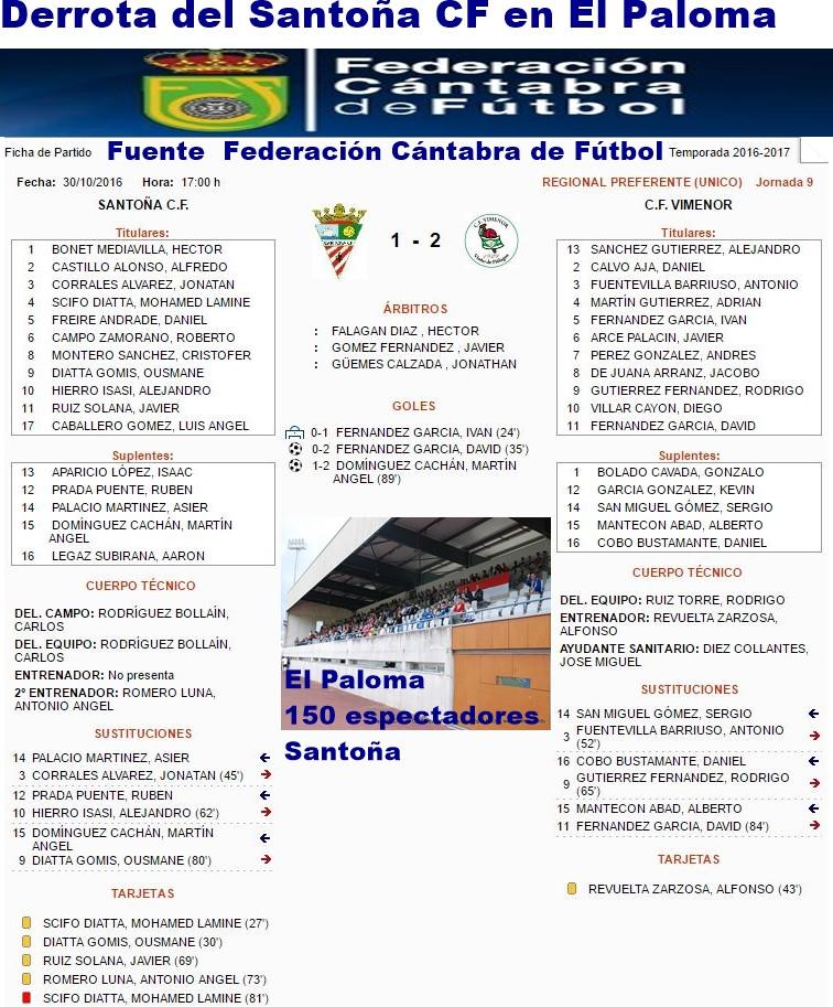 Derrota del Santoña CF en El Paloma