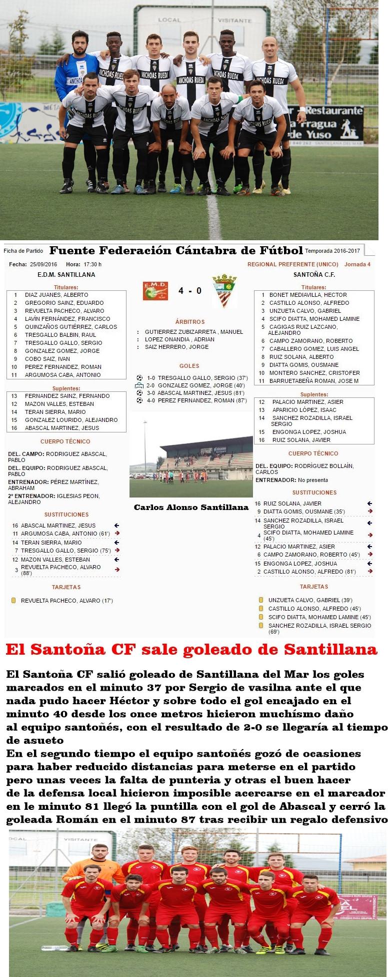 El Santoña CF sale goleado de Santillana