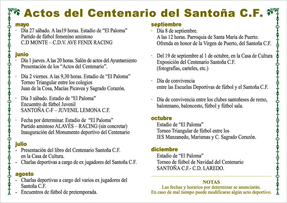 Presentados los actos del Centenario del Santoña CF