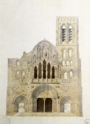 Església de Vézelay,  façana abans de la seva restauració. Eugène VIOLLET-LE-DUC (1814 - 1879)