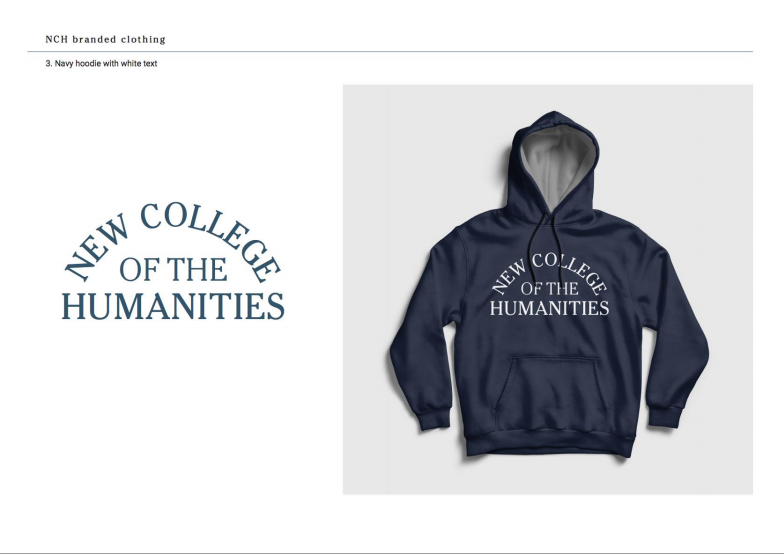 Navy hoodie with white text