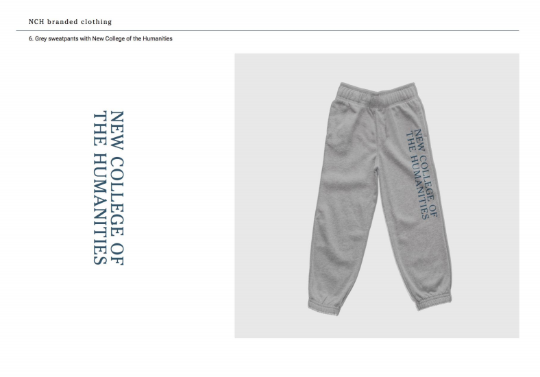 Grey sweatpants with New College of the Humanities
