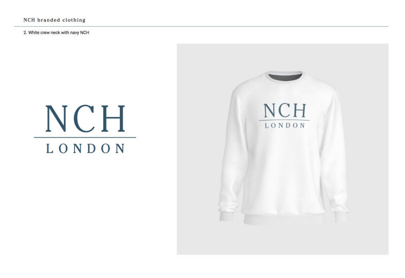 White crew neck with navy NCH