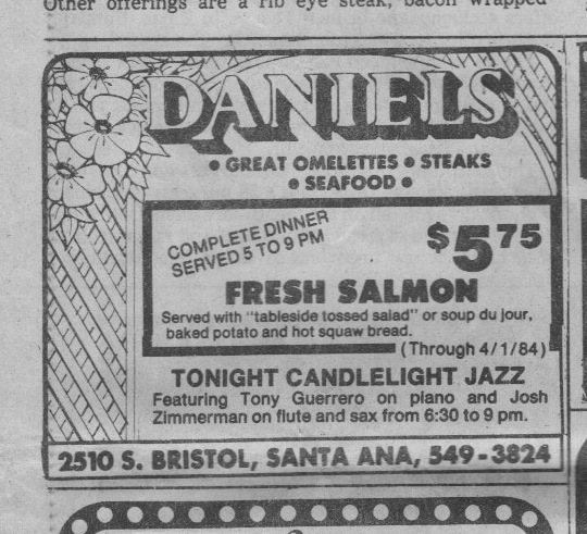 Ad for Tony's first steady gig