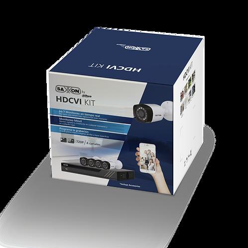 SAXXON PRO - KIT 4 CANALES HDCVI PENTAHIBRIDO 720P