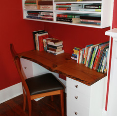 Painted Desk & Shelves with Butternut Top