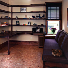 Fiona's Walnut Shelves, Desk, & Couch