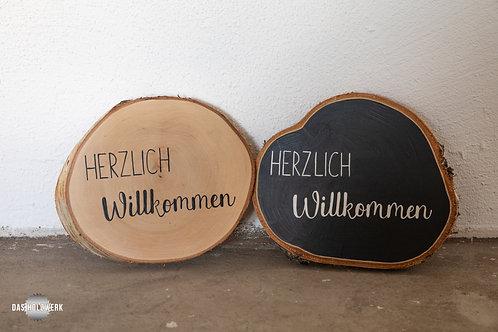 Holzscheibe - Herzlich Willkommen