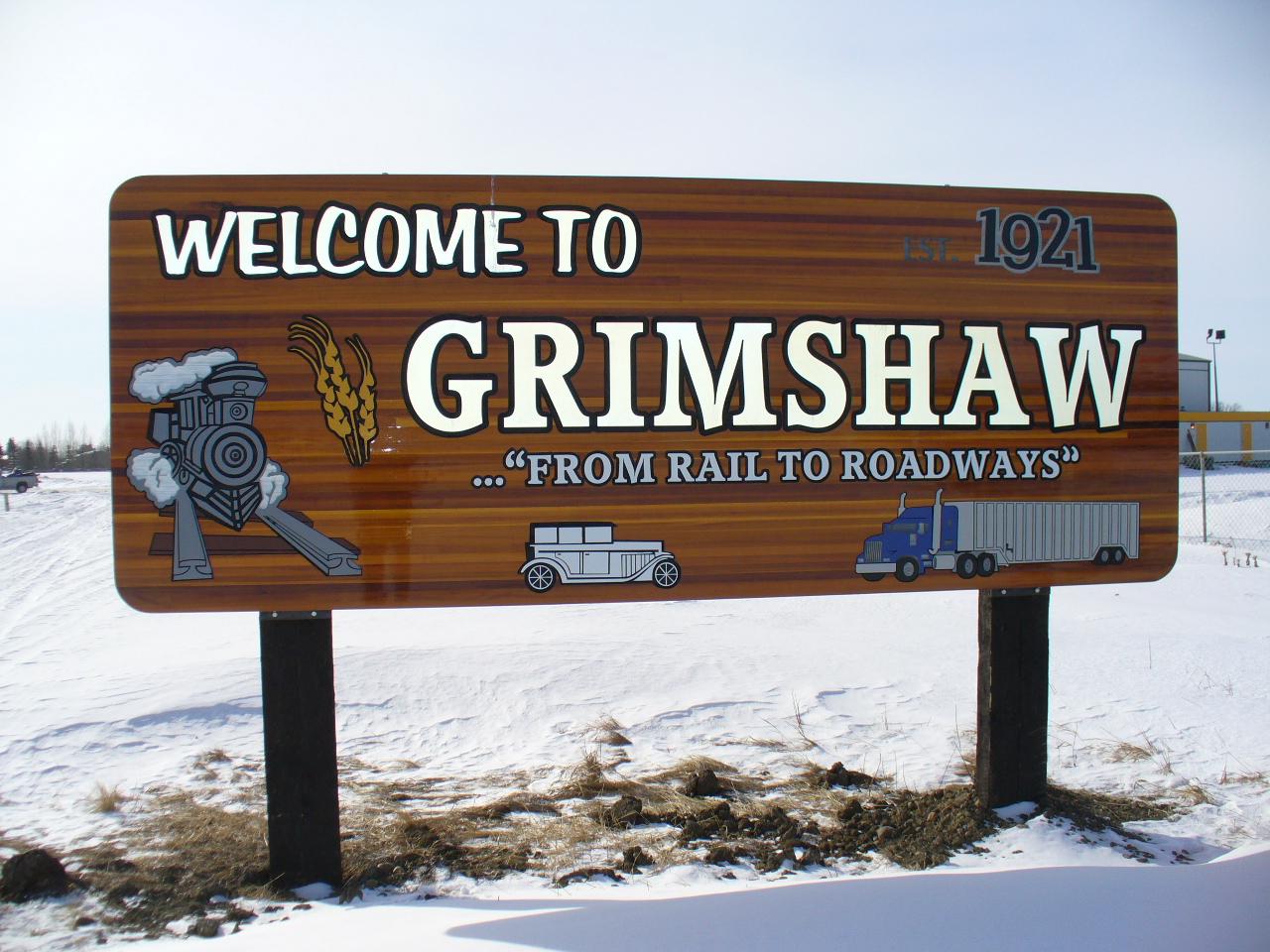 Town of Grimshaw Cedar Sign