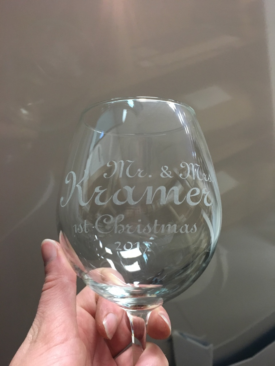 Laser Engraved Wine Glass