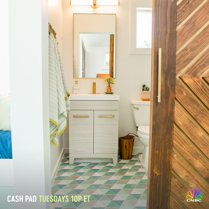 """Zia Tile on the floor in the bathroom of Cash Pad - """"Mid-Century Modern Gateway"""" with JoJo Fletcher and Jordan Rodgers"""