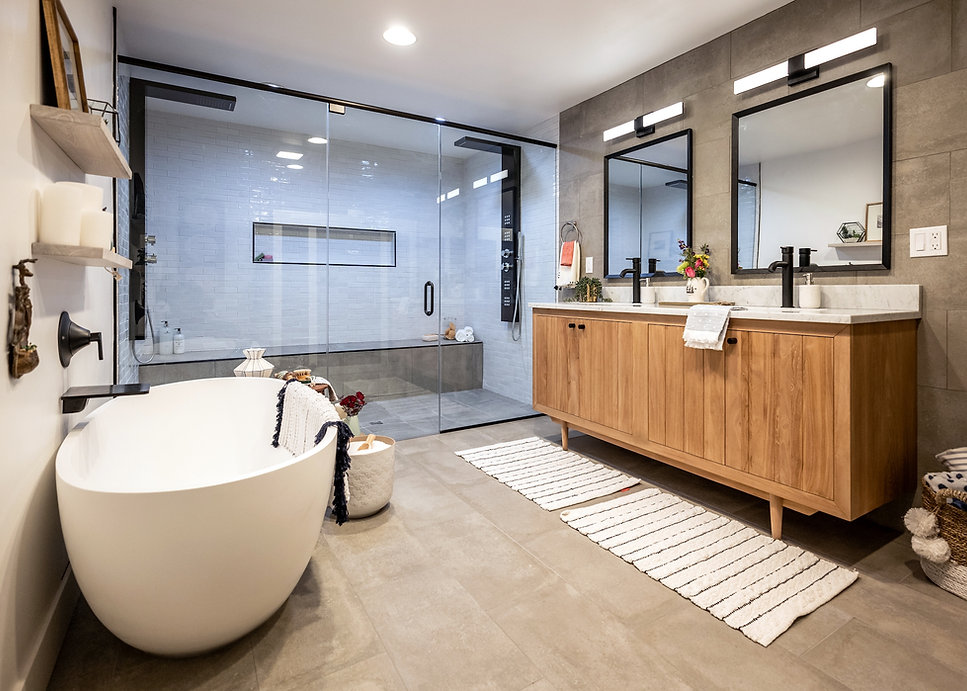 Kichler Lighting on mega bathroom remodel on HGTV Property Brothers: Forever Home with Jonathan and Drew Scott