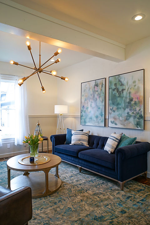 Kichler lighting placed in living room on HGTV Fixer to Fabulous