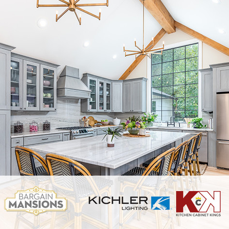 "Kichler Lighting & Kitchen Cabinet Kings placed in DIY ""Bargain Mansions"""