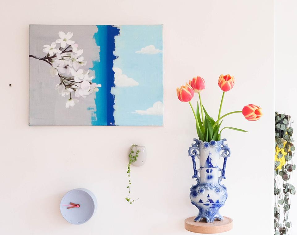 schilderij bloesem wolken op muur
