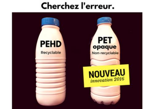 Non aux bouteilles de lait non recyclables !